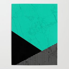 Geometric Green And Black Poster
