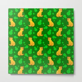 Little bears. Cute adorable funny pink baby bear cubs, bold blue retro dots green forest pattern Metal Print