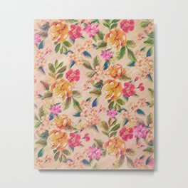 Golden Flitch (Digital Vintage Retro / Glitched Pastel Flowers - Floral design pattern) Metal Print