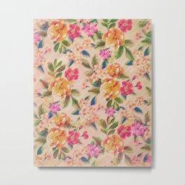 Golden Flitch (Digital Vintage Retro / Glitched Pastel Flowers - Floral design pattern) Metal Print