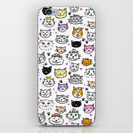 Whimsical Cat Faces Pattern iPhone Skin