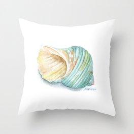 Green Turbo Seashell Watercolor Throw Pillow