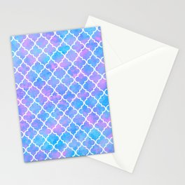 Pastel Pink Blue Quatrefoil Art Deco Pattern Stationery Cards