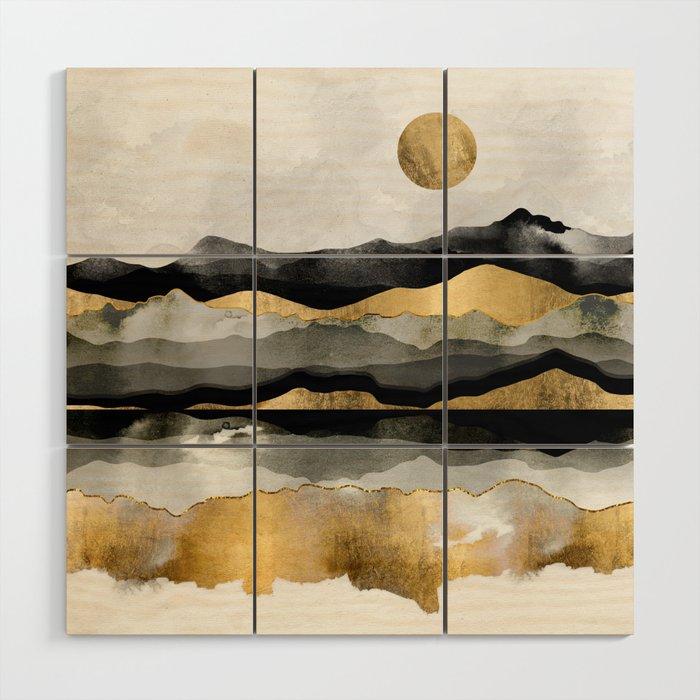 Golden Spring Moon Wood Wall Art