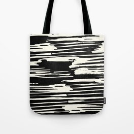 Modern Tribal Stripe Ivory and Black Tote Bag