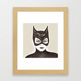 Cat Woman Sketch Meow Framed Art Print