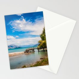 Unspoiled alpine scenery at Kinloch Wharf, New Zealand Stationery Cards