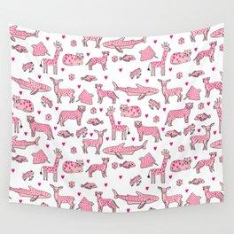 valentines animals nature sharks giraffe deer cats nursery love hearts Wall Tapestry