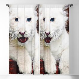 Blue-eyed Baby White Lion Cub Portrait Blackout Curtain