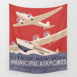 Vintage poster - New York Municipal Airports Wall Tapestry