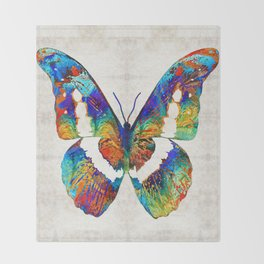 Colorful Butterfly Art by Sharon Cummings Throw Blanket