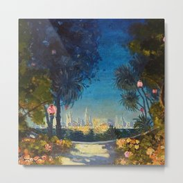 Nighttime Garden View with lanterns across a Lake towards a City by Thomas Mostyn Metal Print
