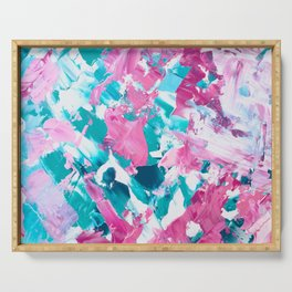 Pink turquoise modern abstract acrylic painting Serving Tray