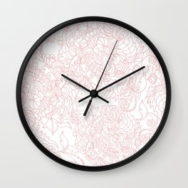 Seamless texture pink Doodle white background. Wall Clock