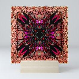 Ornate Red Pink and Gold Antique Mandala Rug Mini Art Print