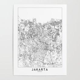 Jakarta White Map Poster