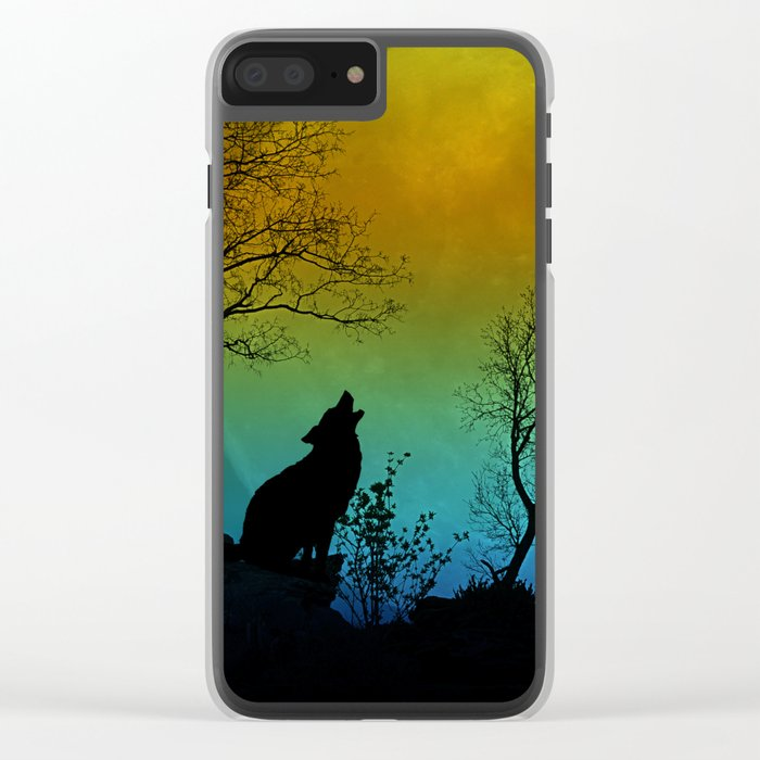 Howling wolf II Clear iPhone Case