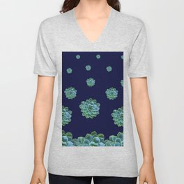 DARK BLUE PATTERN OF BLUE SUCCULENT GARDEN Unisex V-Neck