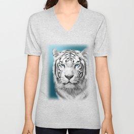 Blue Eyed White Tiger Unisex V-Neck