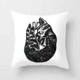 Sleeping Cat - Lino Throw Pillow