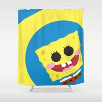 spongebob Shower Curtains featuring Spongebob Squarepants by Eyetoheart