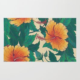 Orange Hibiscus Flowers Rug