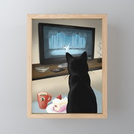 Watching TV Framed Mini Art Print