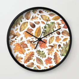 Watercolour Autumn Leaves. Wall Clock