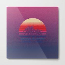 1980s Sunset Retro Pixel Art Metal Print