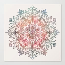 Autumn Spice Mandala in Coral, Cream and Rose Canvas Print