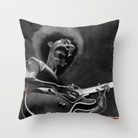 zappa Throw Pillows featuring Frank Zappa by Katon Aqhari