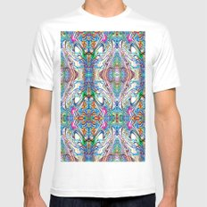 Neon Pinstripes 2 C MEDIUM Mens Fitted Tee White
