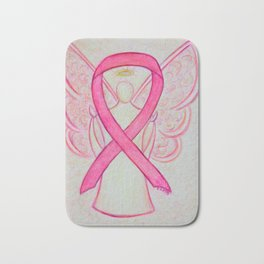 Pink Breast Cancer Awareness Ribbon Angel Art Painting Bath Mat