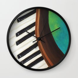 Dancing Piano on Teal Wall Clock