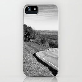 Winding road along the rolling hills near San Simeon, CA iPhone Case