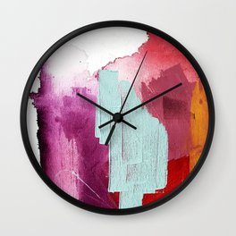 Desert Daydreams [3]: a colorful abstract mixed media piece in purple blue pinks and orange Wall Clock