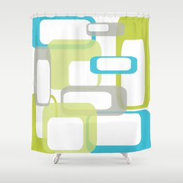 Mid-Century Modern Rectangle Design Blue Green and Gray Shower Curtain