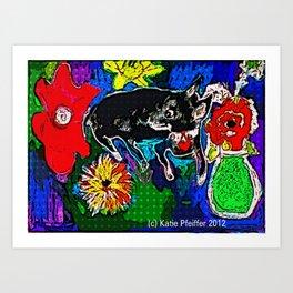 My Dog Among The Flowers Art Print
