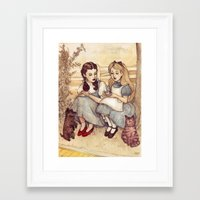 weird Framed Art Prints featuring Dorothy and Alice by Helen Green
