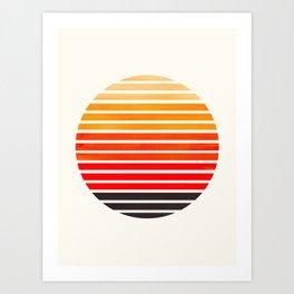 Orange Mid Century Modern Minimalist Scandinavian Colorful Stripes Round Circle Frame Art Print