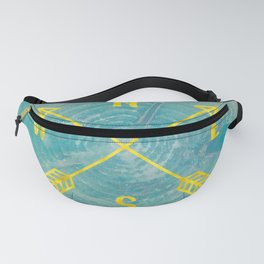 Compass Tree Teal and Gold Fanny Pack