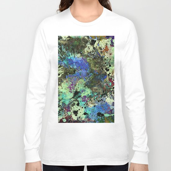 Deep In Thought - Black, blue, purple, white, abstract, acrylic paint splatter artwork Long Sleeve T-shirt