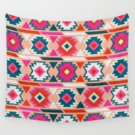 Kilim Abundance Pattern  - Blush & Teal Palette Wall Tapestry