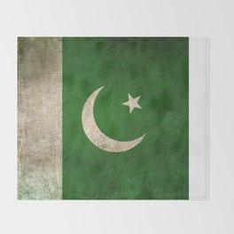 Old and Worn Distressed Vintage Flag of Pakistan Throw Blanket