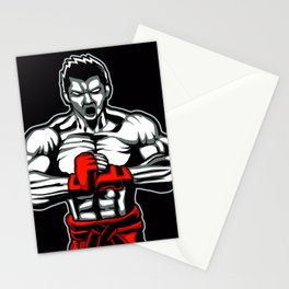 fighter mascot fighter pose ready to fighting Stationery Cards