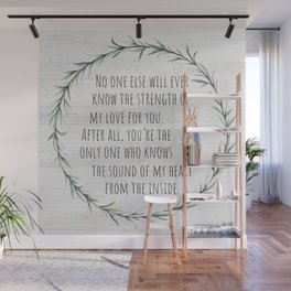 Moms Love w/Weathered wood background Wall Mural