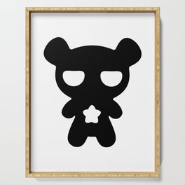 Cute Lazy Bear Black and White Serving Tray