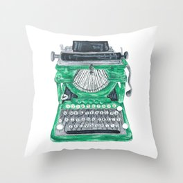 Green Typewriter Throw Pillow