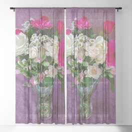 Flowers in a vase - pink gerberas, carnations, daisies, red and white roses Sheer Curtain