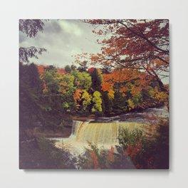 Fall Colors and Falling Water Metal Print